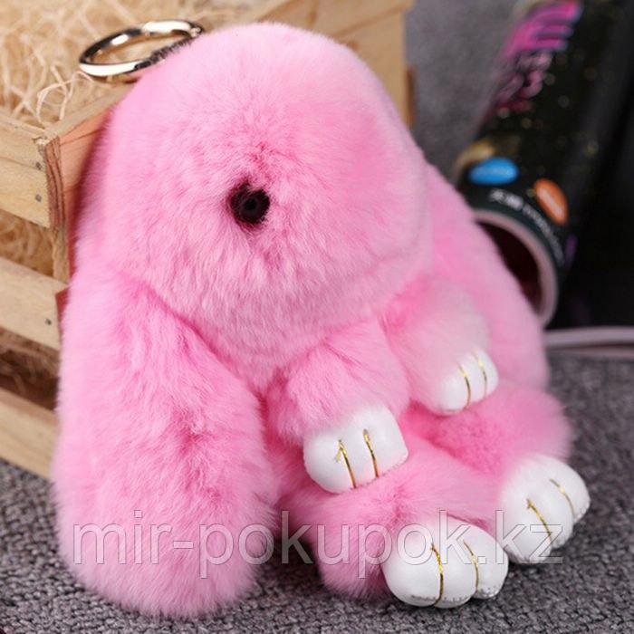Зайчик-брелок из натурального меха (18*10) цвет-розовый, Алматы
