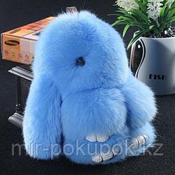 Зайчик-брелок из натурального меха (18*10) цвет-голубой, Алматы