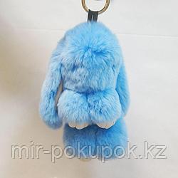 Зайчик-брелок из натурального меха (13*9) цвет-голубой, Алматы