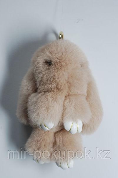 Зайчик-брелок из натурального меха (13*9) цвет-коричневый, Алматы