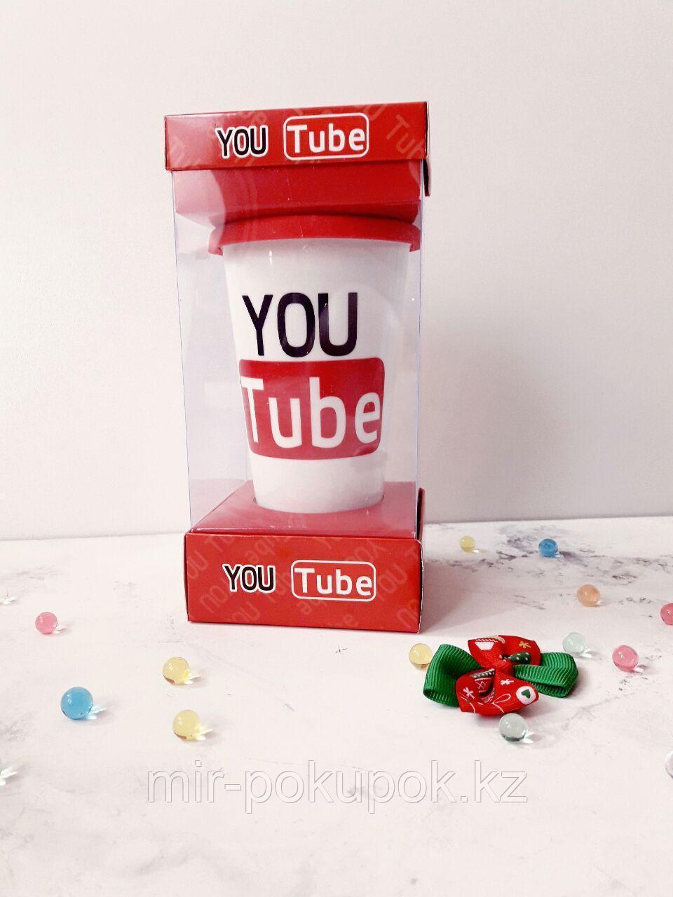 Кружка керамическая с силиконовой крышкой с поилкой Youtube, Алматы