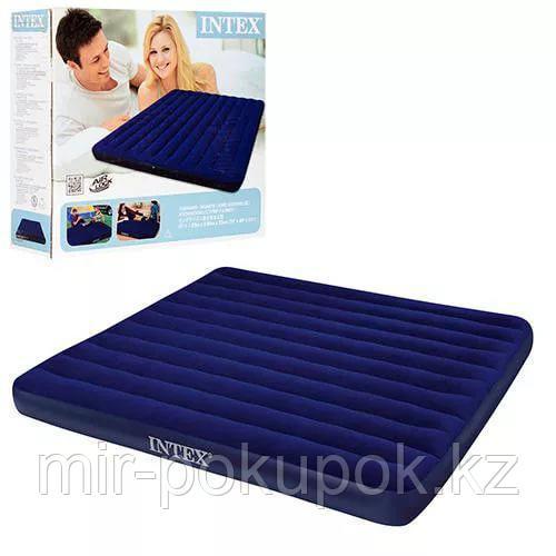 Матрас надувной двуспальный 203х183х22 см, max 273 кг, Intex 68755, поверхность флок, Алматы