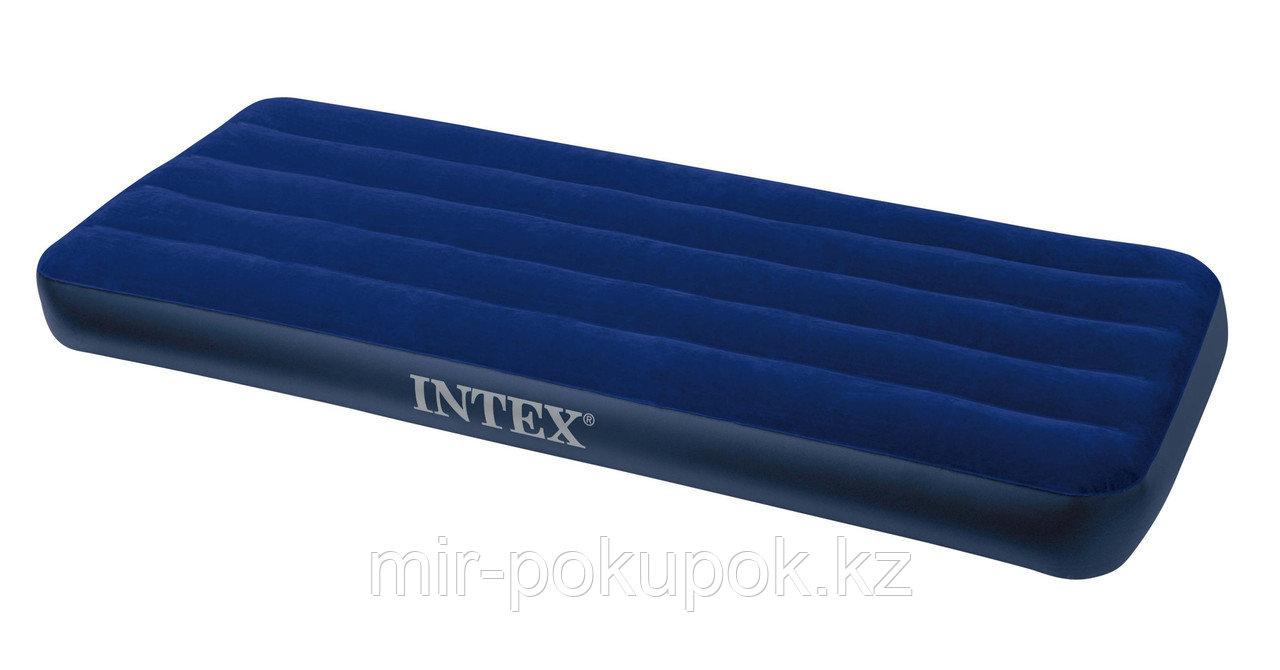 Матрас надувной односпальный 191х76х22см, max 136 кг, Intex 68950, поверхность флок, Алматы