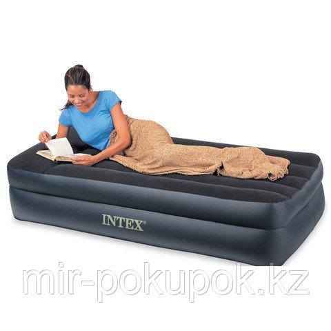 Кровать надувная односпальная 191х99х42 см, max 136 кг, Intex 66721, поверхность флок, Алматы