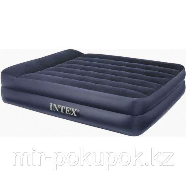 Кровать надувная двуспальная 203x157x47 см, max 273 кг, Intex 66720, поверхность флок, Алматы