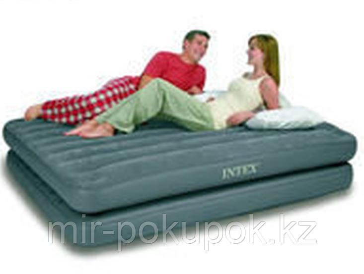 Кровать надувная 2 в 1, 203х152х46 см, max 273 кг, Intex 67744, поверхность флок, Алматы