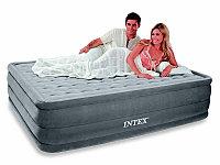 Кровать надувная двуспальная 203х152х46 см, max 273 кг, Intex 66958 поверхность флок встроенный насос, Алматы