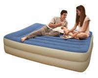 Кровать надувная двуспальная 203х152х47 см, max 273 кг, Intex 67714 поверхность флок встроенный насос, Алматы
