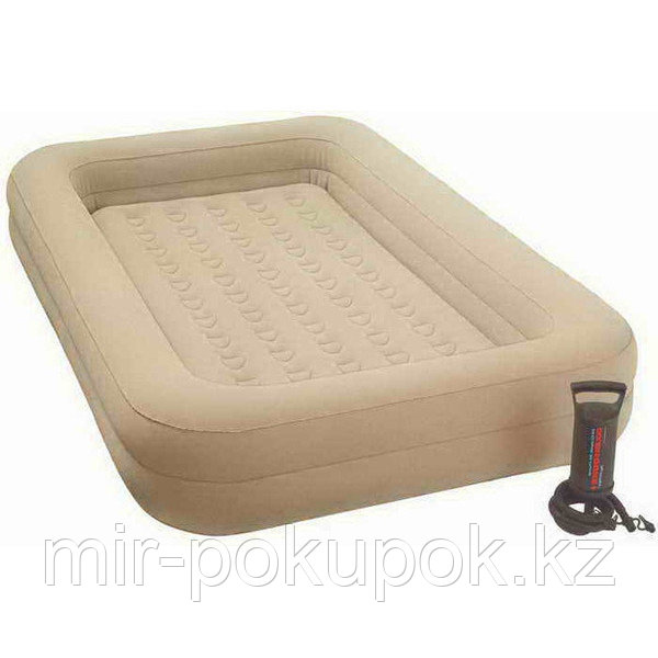 Кровать надувная детская 168х107х25 см, Intex 66810, поверхность флок, Алматы