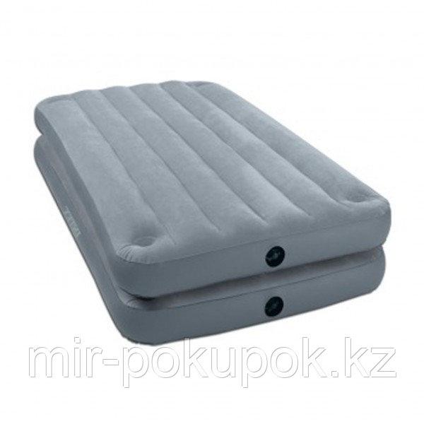 Кровать надувная 2 в 1, 191х99х46 см, max 136 кг, Intex 67743, поверхность флок, Алматы