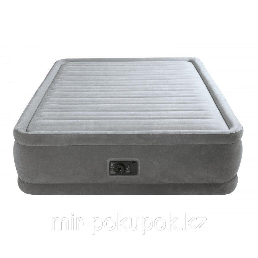 Кровать надувная Intex 152х203х46 см, max 273 кг Intex 64414, поверхность флок, встроенный насос, Алматы