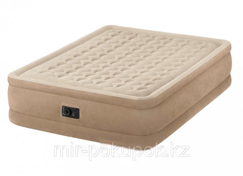 Кровать надувная Intex 152х203х46 см, Intex 64458, поверхность флок, встроенный насос, Алматы