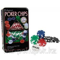 Набор номинальных фишек для покера в жестяной коробке «POKER CHIPS» (100 шт. + кнопка дилера), Алматы