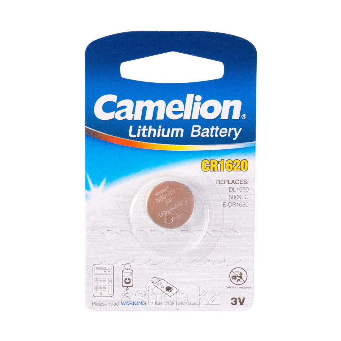 Батарейка Camelion CR1620-BP1 3 В, Упакова: Блистер 1 шт., Аналоги: CR1620\5009LC, Тип батареи: Литий-ионный