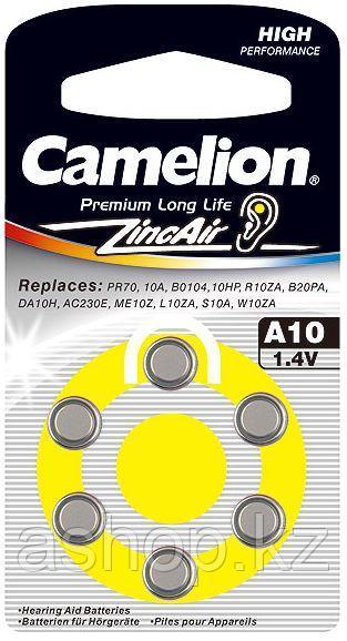 Батарейка Camelion A10-BP6 1,4 В, Упакова: Блистер 6 шт., Аналоги: PR70\A10\ZA10\V10\DA230, Тип батареи: Возду