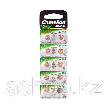 Батарейка Camelion AG6-BP10(0%Hg) 1,5 В, Упакова: Блистер 10 шт., Аналоги: AG3\LR736\LR41, Тип батареи: Щелочн