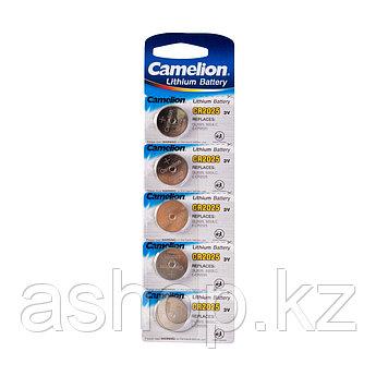 Батарейка Camelion CR2025-BP5 3 В, Упакова: Блистер 5 шт., Аналоги: CR2025\5003LC, Тип батареи: Литий-ионный