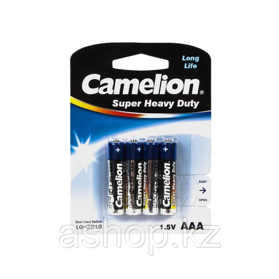 Батарея Camelion Super Heavy Duty R03P-BP4B 1,5 В, Упакова: Блистер 4 шт., Аналоги: LR03\24A\AAA\А286, Тип бат