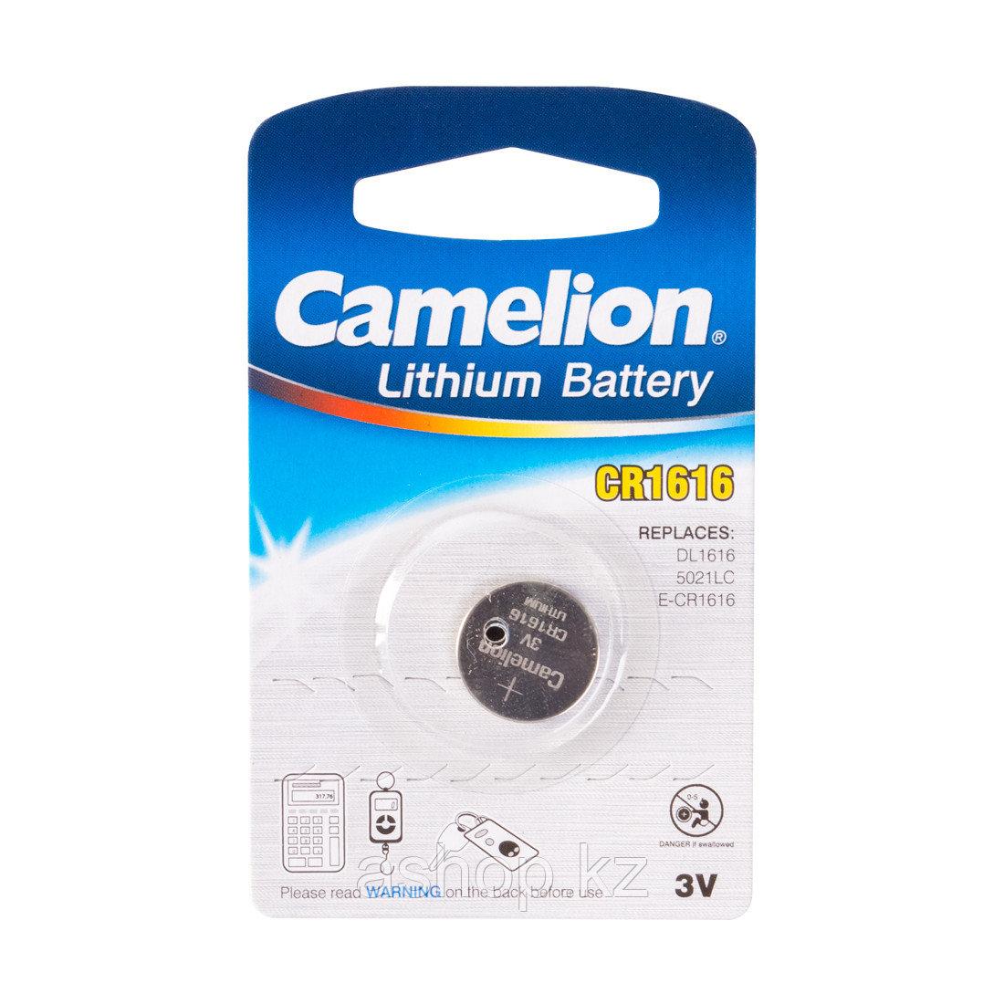 Батарейка Camelion CR1616-BP1 3 В, Упакова: Блистер 1 шт., Аналоги: CR1616\5021LC, Тип батареи: Литий-ионный