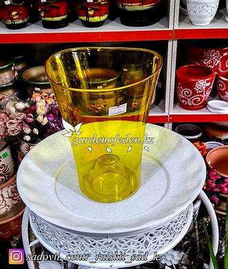 """Пластиковое Кашпо """"Волна"""". Цвет: Желтый. Объем: 1.3л, фото 2"""