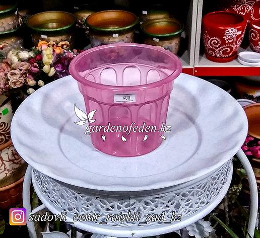 Пластиковый горшок. Цвет: Розовый. Объем: 0.4л, фото 2