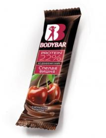 """Батончик протеиновый BODYBAR 22% """"Спелая вишня"""" в горьком шоколаде"""