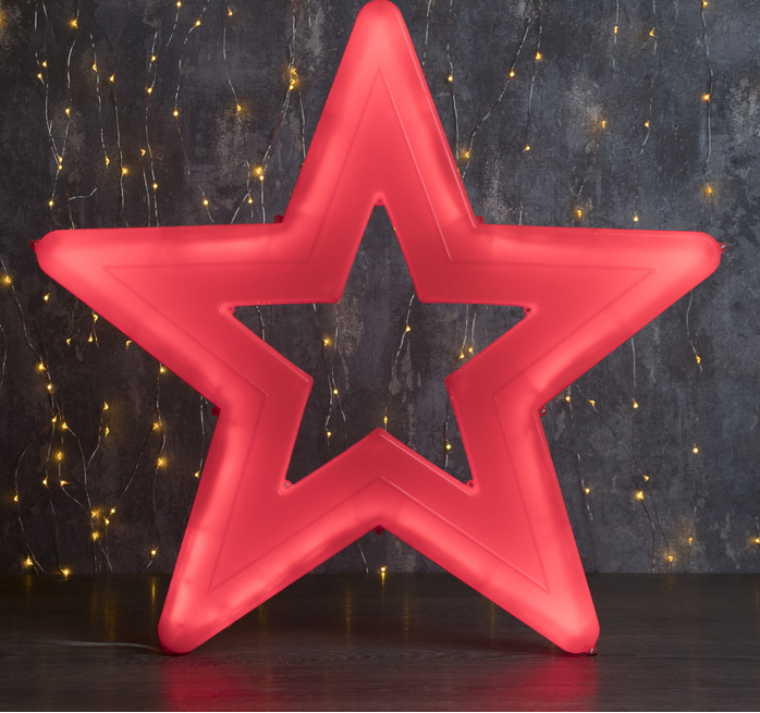 "Фигура уличная ""Звезда синяя"", 56х56х4 см, пластик, 220 В, 3 метра провод, фиксинг, СИНИЙ"