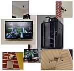 IP видеонаблюдение на 8 камер, с возможность просмотросмотра через интернет на смартфоне в любой точки земли где есть доступ к интернету.А также видео сигнал видеокамер в реальном времени был подан на все телевизоры.