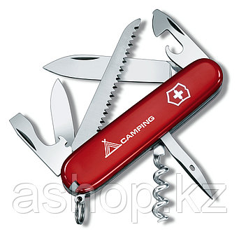 Нож складной армейский Victorinox Camper, Функционал: Туризм, Кол-во функций: 13 в 1, Цвет: Красно-белый, (1.3