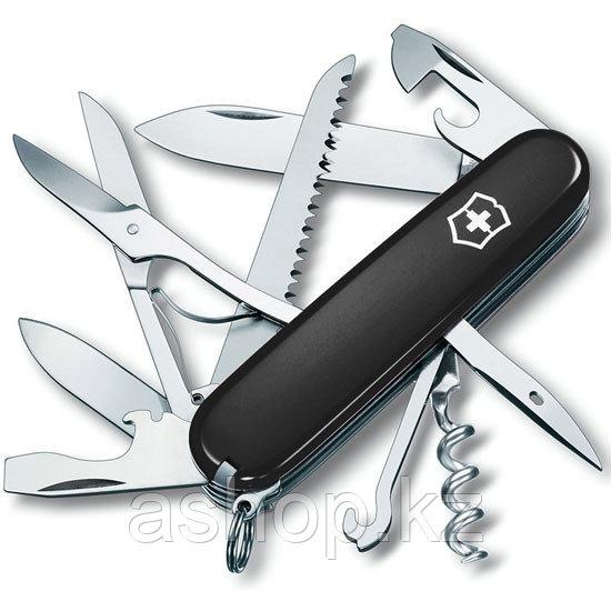 Нож складной армейский Victorinox Huntsman, Кол-во функций: 18 в 1, Цвет: Чёрный матовый, (1.3713.3R)