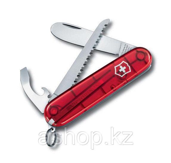 Нож складной карманный Victorinox My First Victorinox, Функционал: Туризм, Кол-во функций: 9 в 1, Цвет: Красны
