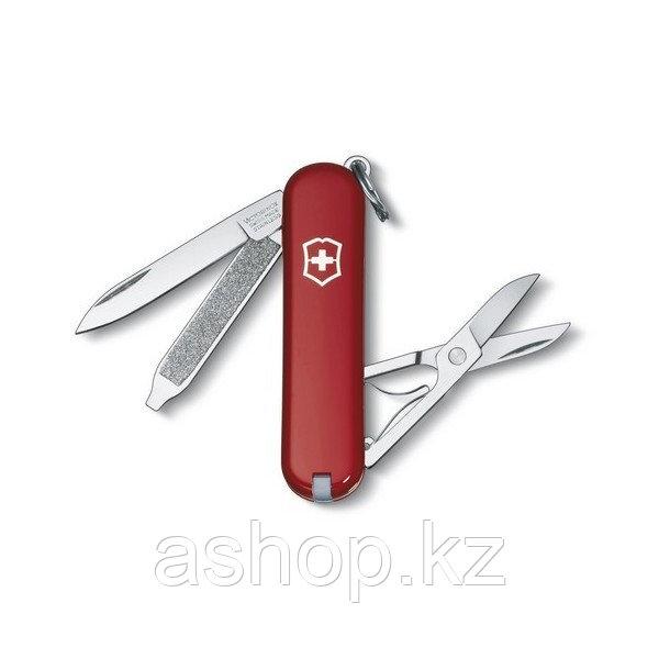 Нож складной карманный Victorinox Classic, Функционал: Туризм, Кол-во функций: 7 в 1, Цвет: Красный, (0.6223)