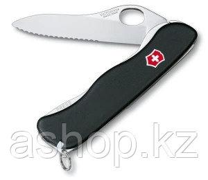 Нож складной солдатский Victorinox Sentinel Clip One Hand, Кол-во функций: 5 в 1, Цвет: Чёрный, (0.8416.MW3)