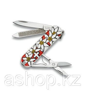 Нож складной карманный Victorinox Edelweiss, Функционал: Туризм, Кол-во функций: 7 в 1, Цвет: Разноцветный, (0
