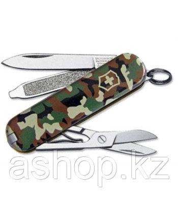 Нож складной карманный Victorinox Classic SD Camouflage, Функционал: Туризм, Кол-во функций: 7 в 1, Цвет: Хаки