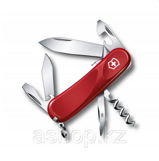 Нож складной карманный Victorinox Evolution S101, Функционал: Туризм, Кол-во функций: 12 в 1, Цвет: Красный, (