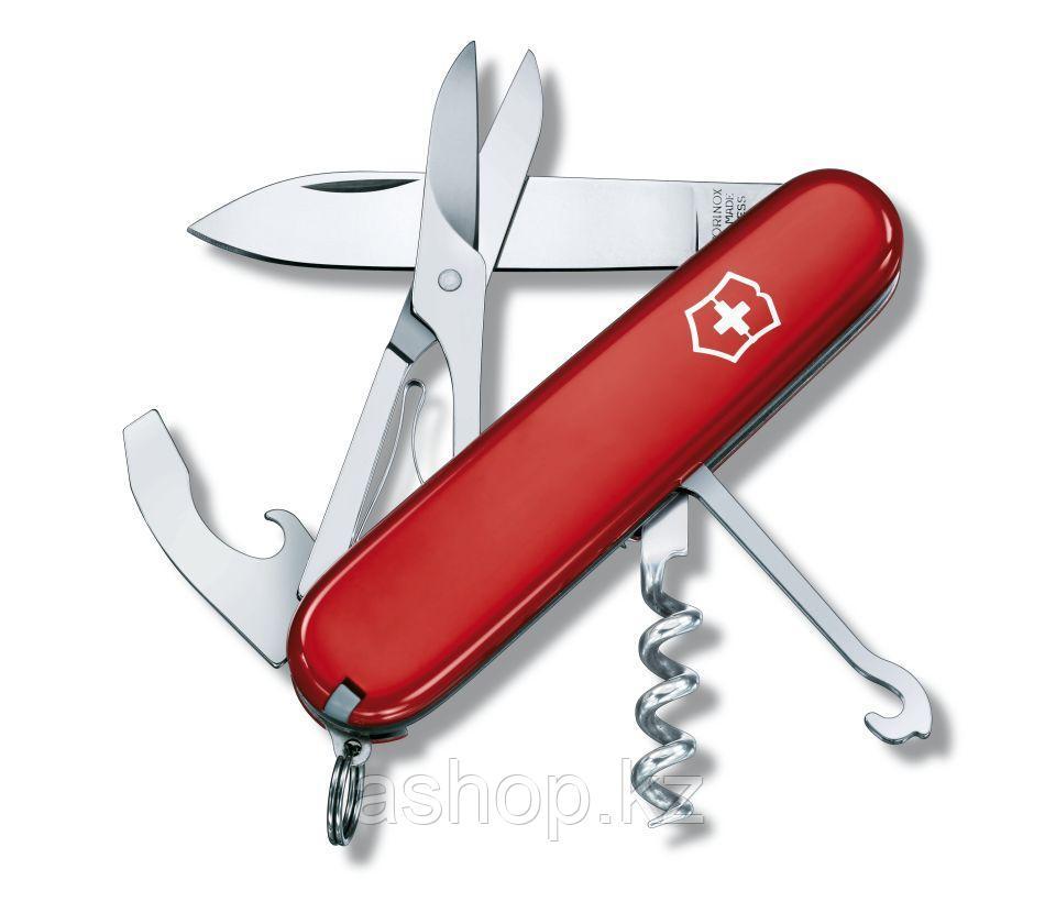 Нож складной офицерский Victorinox Compact, Функционал: Универсальная, Кол-во функций: 15 в 1, Цвет: Красный,