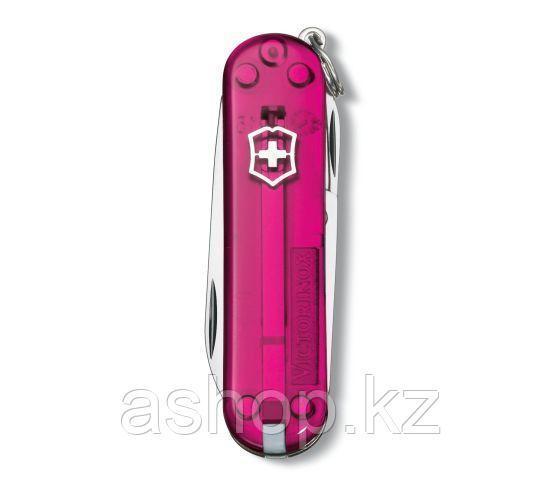 Нож складной карманный Victorinox Classic, Функционал: Туризм, Кол-во функций: 7 в 1, Цвет: Розовый (прозрачны