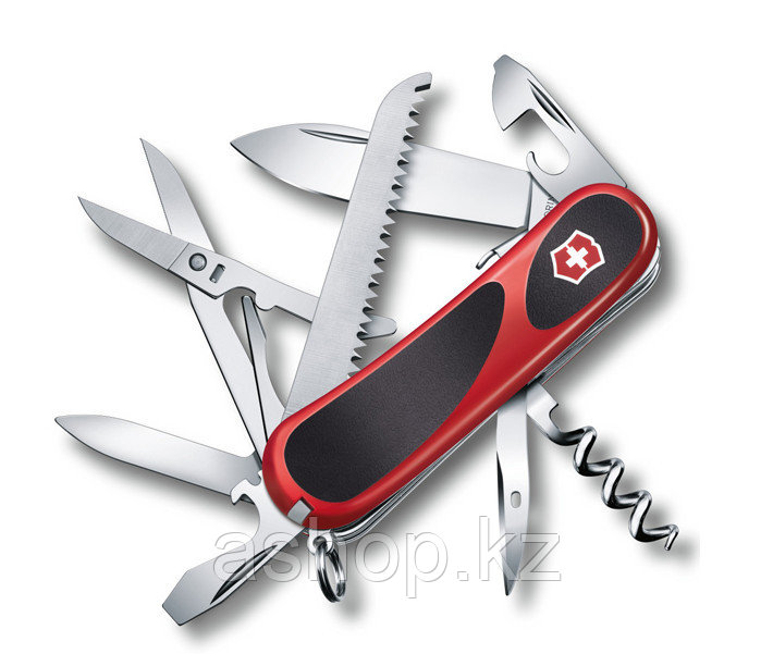 Нож складной карманный Victorinox Evogrip S17, Функционал: Туризм, Кол-во функций: 15 в 1, Цвет: Красно-чёрный