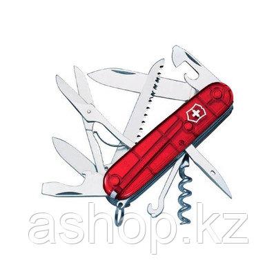Нож складной армейский Victorinox Huntsman, Кол-во функций: 18 в 1, Цвет: Красный (прозрачный), (1.3713.Т)