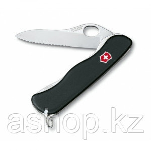 Нож складной солдатский Victorinox Sentinel One Hand, Кол-во функций: 5 в 1, Цвет: Чёрный, (0.8413.MW3)