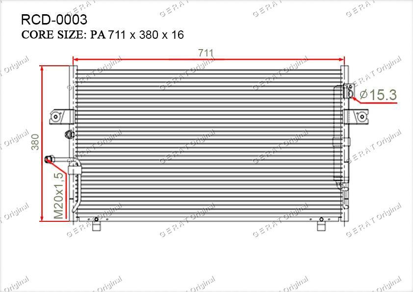 Радиатор кондиционера Gerat OEM921102Y910