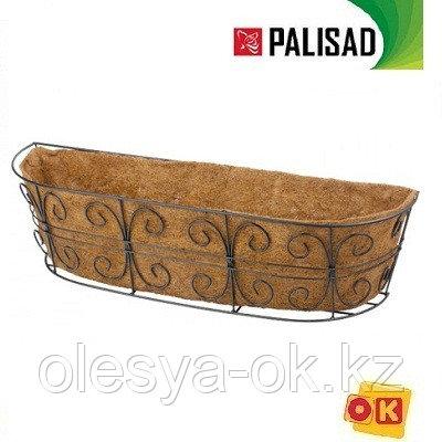 Пристенное кашпо с декором, 74 х 20 см, с кокосовой корзиной// PALISAD