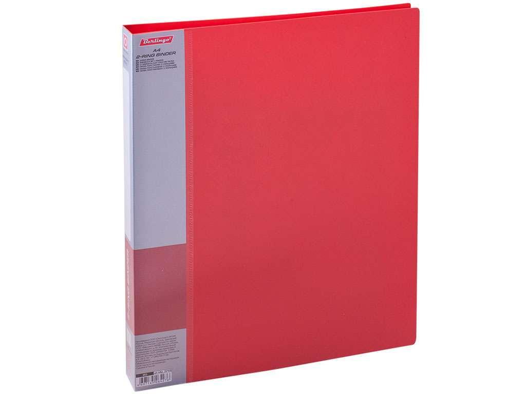 """Папка на 2-х кольцах BERLINGO """"Standard"""", пластиковая, корешок 25 мм, красная"""