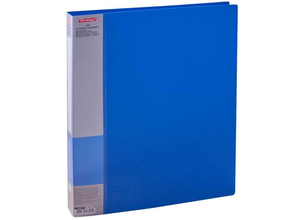"""Папка на 2-х кольцах BERLINGO """"Standard"""", пластиковая, корешок 25 мм, синяя"""