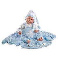 Кукла LLORENS малыш 40см в колпачке, с одеялом  голубой