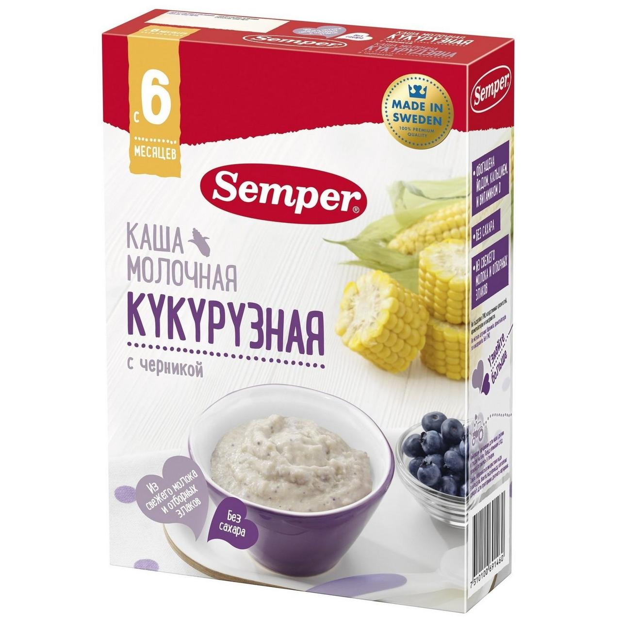 "Каша ""Semper"" кукурузная с черникой, молочная  с 6 мес. 200г"