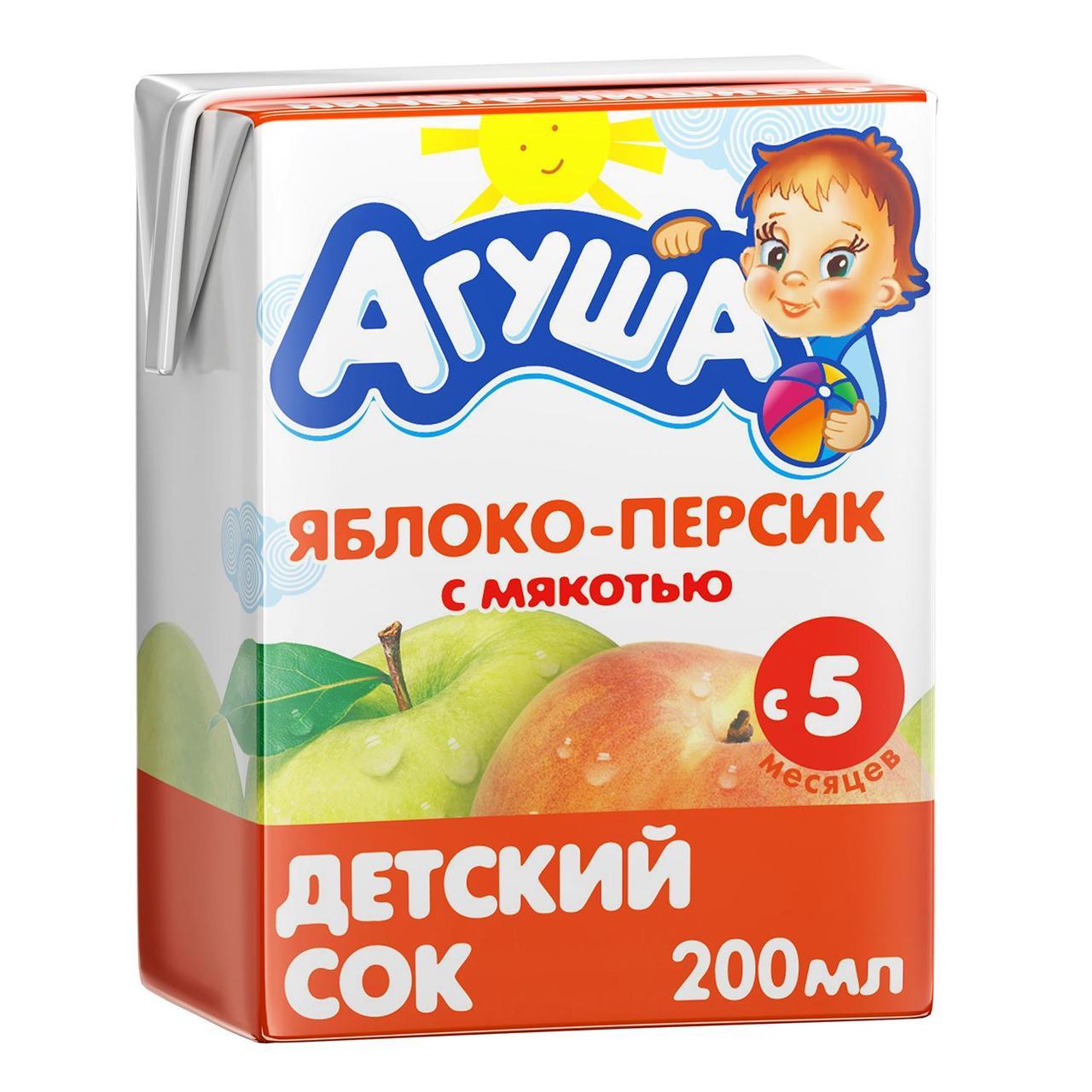 """Сок детский с мякотью """"Агуша"""" 0,2л Яблоко-Персик"""