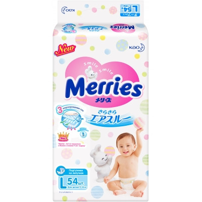 Подгузники Merries L (9-14кг) 54 шт.