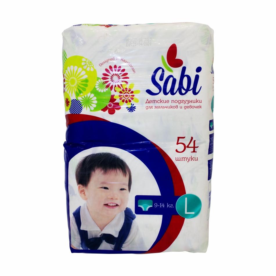 Детские подгузники Sabi L (54 шт) 9-14 кг